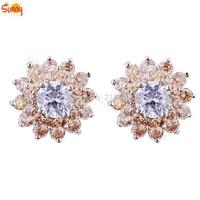 cc earrings topaz Stud  Earrings 24K White gold filled