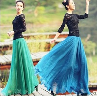 Spring Summer Fashion Bohemian Floor Length solid silk Chiffon Women Long Skirt Slim Ruffles Women skirts fashion Beach Skirts