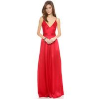 2014 NEW ARRIVAL HOT SALE!! Drop Shipping! Women V Collar Spaghetti Straps High Waist Invisible Zipper Maxi Dress Party Dress