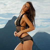 Free Shipping 2014 New Arrival Black Colour One Piece Sexy HL Bandage Swimsuit Women's Beach Swimwear High quality