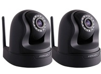 2pcs/lot Black CCTV Foscam FI9826W WIFI H.264 HD 1.3MP Optical Zoom Pan/Tilt IP Camera free 8G TF card