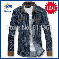 2014 New Fashion Mens Dress Shirts Round Point Corduroy Brand Long Sleeve Men Casual Shirt Free Shipping