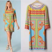 Luxurious Italian Brands Women's Stunning Print Elegant Half Sleeve Jersey Silk Dress Cute Dress XXL Free Shipping