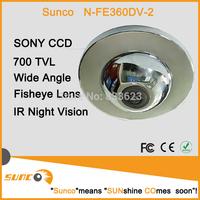 Sunco 360 Degree Fish-Eye Wide Angle Waterproof Video Dome  Camera Optical Sony CCD 700TVL  With Motion Detection PAL/NTSC