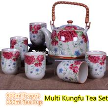 7pcs Big Size Chinese Kung Fu Tea Set 900ml Tea Pot 150ml Tea Cup Blue Peony Flower Painting 06