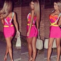 2014 Summer Knitted Desigual Strap ladies sling chiffion mini Dresses pink Vestido backless maxi Bandage Prom Dresses lyq125