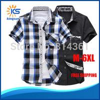 Free Shipping 2014 New Hot Sale Casual Dress Shirts Slim Fit Short Sleeve Stylish Brand Classic Men Plaid Shirt