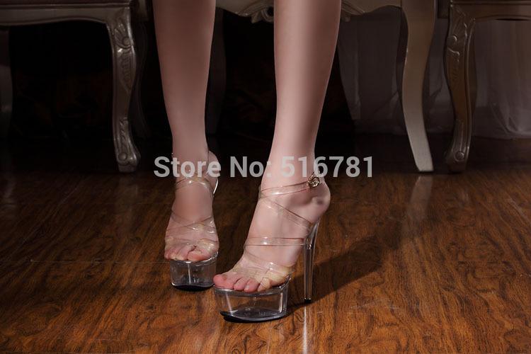 vendita 2014 elegante delle donne scarpette di cristallo scarpe da sposa sexy tacchi alti 15 centimetri sandali trasparenti sexy club scarpe spedizione gratuita