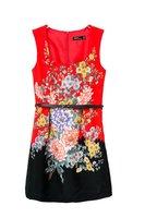 2014 Summer New Girls Oriental Hydrangea Lantern Dress Women Vintage Prints Dress3097104703