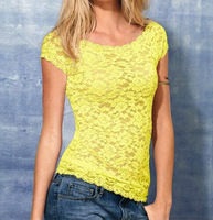 Hot 2014 Summer Tops  For Women Hollow-out Lace Short Sleeves T-shirts