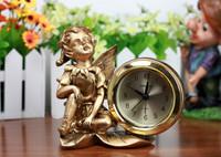 Fashion super quiet small desktop clock resin craft  little angel statuette home decor living room desk clock  children gift