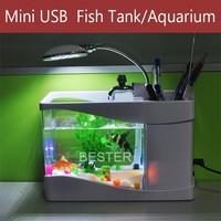 Black/ White USB Desktop Fish Tank Aquarium with LED Light Fish Tank Aquarium for Home Decoration freeshipping