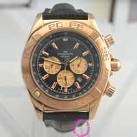 high good quality luxury famous stainless steel black band brand man rose gold black dial chronograph quartz Wristwatch watch