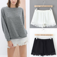 2014 New Hot Summer Women's Sexy Elastic Waist Lace Crochet Trim Shorts Pants White Black