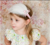 Hot selling Baby girls Headwear exquisite diamond double feather hairpin headdress head flower infant Photography Accessories