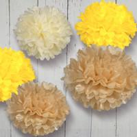 Free Shipping 10pcs mixed 2 sizes (20cm,35cm) Tissue Paper Pom Poms Wedding ,Party, Nursery, Birthday, Festival Decoration