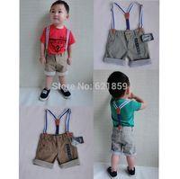European orders British baby boy cotton and linen flanging leisure straps shorts fashion Street clothes Joker gentleman overalls