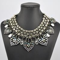 2014 European Za Brand Fashion Crystal Necklaces & Pendants Vintage Luxury Chunky Choker Big Collar Statement Jewelry8740