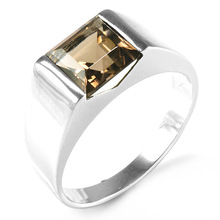 2014 Brand New Hot Sale promotion 2.3CT High Quality Lemon Smoky Quartz Wedding Ring For Mens 925 Solid Sterling Sliver
