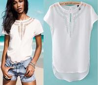 New 2014 Plus Size Hollow Out Shirts Fashion Casual Shirts Summer Shirts