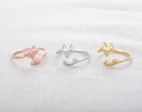 Free shipping New Silver 18K Gold Rose Gold Fox Ring Mid Finger Couple Ring Boho Chic Unique Adjustable Fox Rings For Men