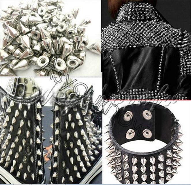 100Pcs SilverMetal Cone Screwback Spikes Studs Punk Rivets Bracelet Leather Bag Cloth Shoes 4Q123(China (Mainland))