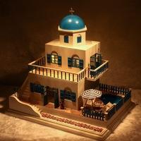 DIY LED LIGHT wooden Dollhouse miniatures Greece house sweet trip kit
