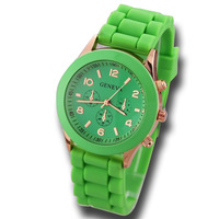 New hot fashion 2014 Unisex Quartz watch 12 color men women Analog wristwatches Sports Rose Gold Silicone watches ,free shipping