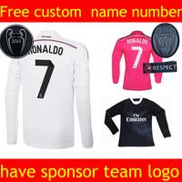 madrid long sleeve jersey  7 jersey long sleeve cristiano 14 15 Jersey Home Ozil kaka Soccer jersey