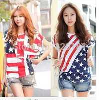 spring 2014 short-sleeved T-shirt tide plus size loose blouse lovely ladies shirt bat american flag t-shirt women clothing