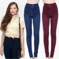 New 2014 spring sexy slim hip skinny jeans women fashion high waist jeans Stretch pencil pants women denim elastic trousers