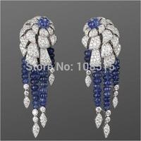 Derongems_Fine Jewelry_Luxury Tanzanite Sapphire Party Tassels Earrings_S925 Solid Silver Luxury Earrings_Factory Directly Sales
