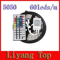 Free shipping 5M SMD 5050 RGB LED Strip Light 5050 Non Waterproof 110V 220V To 12V 300 LEDS 60leds/m  With 44Keys Remote