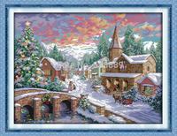 Snowscape Counted 11CT 14CT Cross Stitch DMC Cross Stitch DIY Dimension Cross Stitch Kits Hot Embroidery Home Decor Needlework