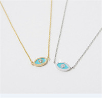 Free Shipping New Arrival Fashion 18K Gold Tiny Blue Evil Eye Necklace Silver Rose Gold Cute Evil Eye Necklace Pendant Wholesale