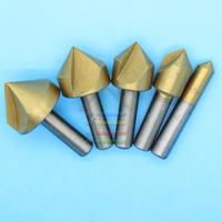 5pcs HCS Single Flute Titanium Coated 90 Degree Chamfer Drills Wood Countersink Drill Bit 6-19mm