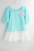 Retail+New 2014 children girls clothing set,fashion summer baby wear,Tops+dress,2 pieces set,hot sale