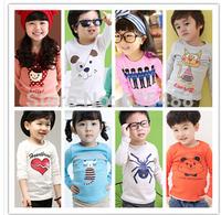 NEW 2014 summer children clothing girls boys child cartoon multicolor long sleeve T shirt children top tee/Children's T-Shirts