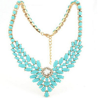 2014 summer elegant luxury  colorful gem rhinestone bib necklace multi-leaf foliage resin chain Statement jewelry women 2014 M14