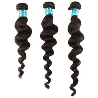 3piece/lot 100%  Hair Weaving Hair Extension Weft Natural Black Hair Color Loose Wave Hair Style 300g/pack Free Shipping