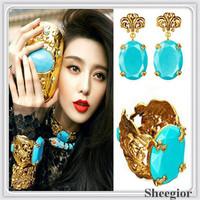 New 2014 Big Brand Jewelry set Acrylic Bracelets & Bangles Women Long Gold Dangle earrings Europe and America Party Hot sale