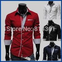 2014 New Stylish Autumn Men Shirts Patchwork Business Shirts Long-sleeve Man Dress Shirt M-XXL Free Shipping