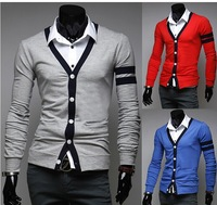 mens cardigan sweater,2014 casual spring autum contrast color knitting cardigan M l xl xxl
