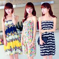 Summer Girl Dress 21 Colors Chiffon Fashion Cute Slim Thin Femininas Vestidos Beach Casual Mini Floral Women Dresses 601