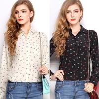 Hot Fashion Long Sleeve Shirt Anchors Lapel Print Chiffon Blouse Tops #58173