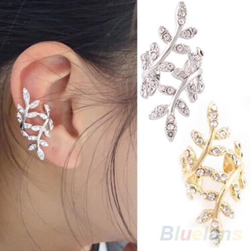 New 2014 Fashion Women s Punk Rock Retro Earring Crystal Leaf Ear Cuff Warp Clip Ear