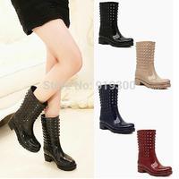 New Arrivals 2014 Womens Mid-calf Rubber Rainboots Fashion Rivet Style Knee High Flat Heels Rain Boots Water Shoes   #TR1