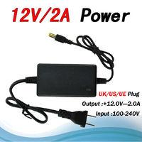Free Shipping High quality 12V AC/DC 2A CCTV 12V  Adapter Switching Power Supply Monitoring power Uk/US/UE Plug