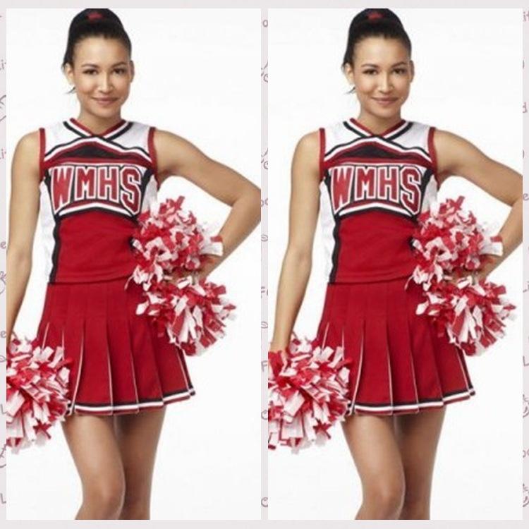alibaba express free shipping Ladies Costume Fancy Dress Up Red Cheerleader glee cheerleader costume two-piece mini dress(China (Mainland))
