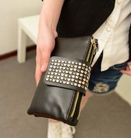 2014casual women's handbag rivet candy bag day clutch!women double zipper designer purse wallet! women's fasihon wallets bags